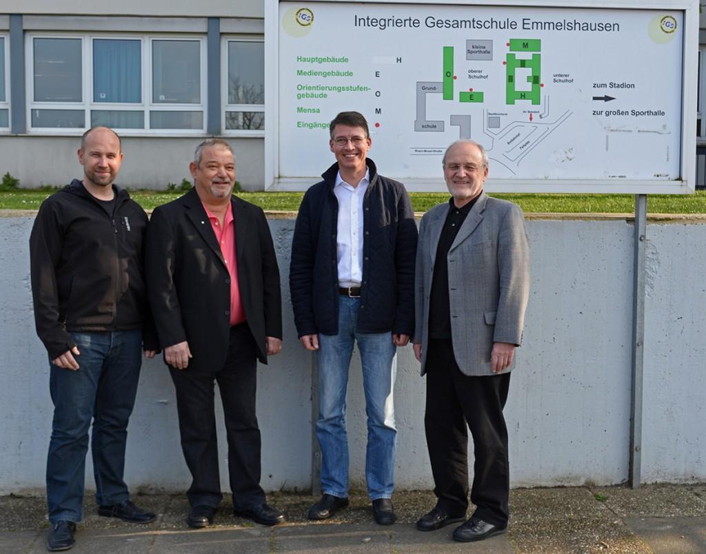 v. l.:  Dirk Hartig, Vorsitzender CDU-Gemeindeverband Emmelshausen, Norbert Kleemann, 1.  Beigeordneter Verbandsgemeinde Emmelshausen Frank Fischer und Karl Moog, stv. Vorsitzende des Gemeindeverbandes.